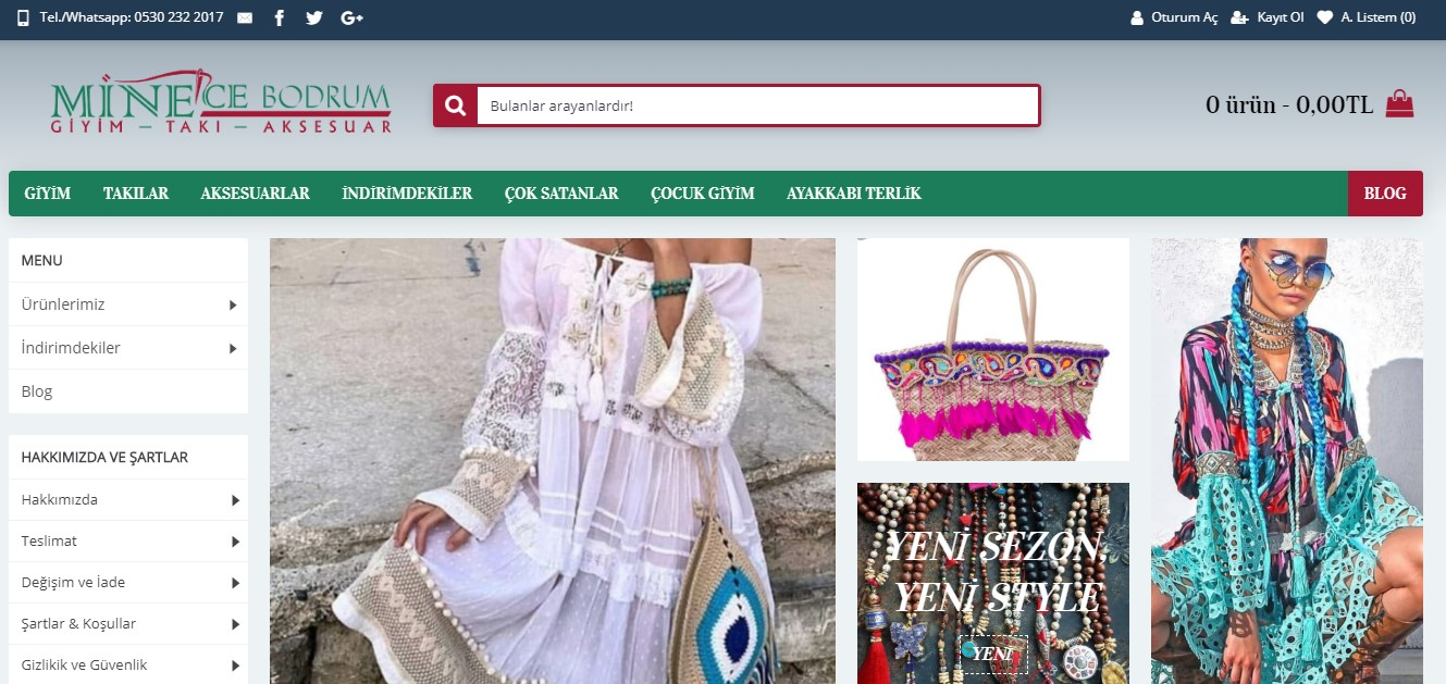 e-ticaret web site tasarim minecebodrum-com