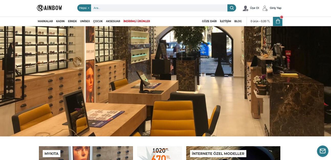 e-ticaret site tasarimi rainbowoptik.com